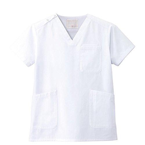 ナースリー スクラブ 医療 ナース 看護 白衣 レディース メンズ L ホワイト 399301A
