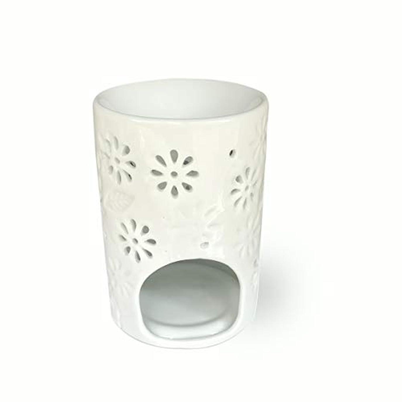 藤色テレマコス航空(Vase Shaped) - ToiM Milk White Ceramic Hollowing Floral Aroma Lamp Candle Warmers Fragrance Warmer Oil Diffuser...