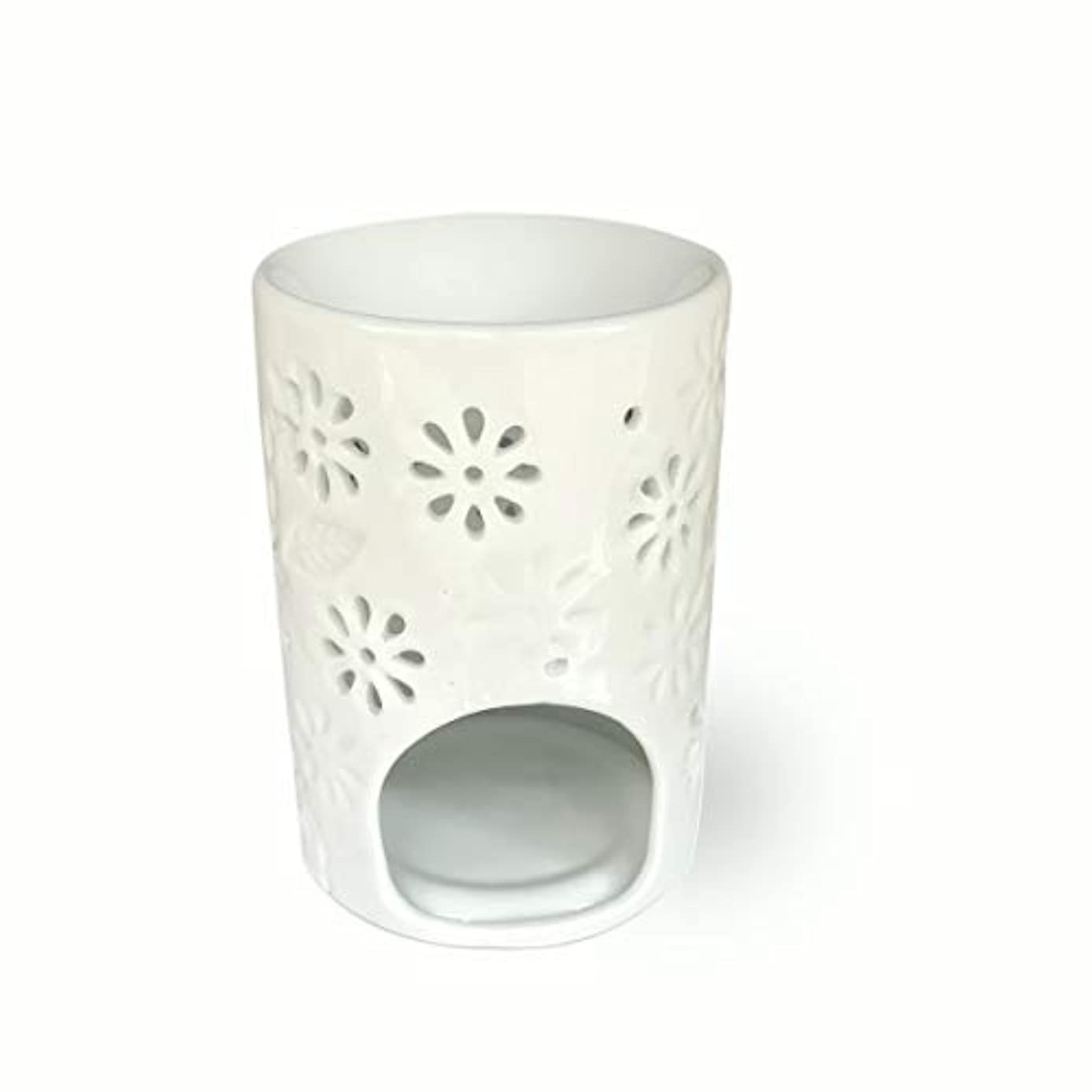 マラドロイトダウン寛容(Vase Shaped) - ToiM Milk White Ceramic Hollowing Floral Aroma Lamp Candle Warmers Fragrance Warmer Oil Diffuser...