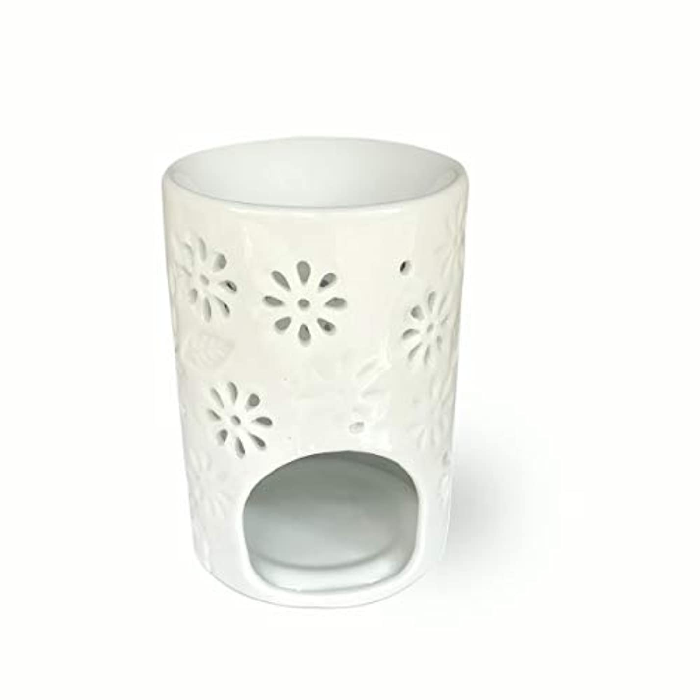 霜緊急歩行者(Vase Shaped) - ToiM Milk White Ceramic Hollowing Floral Aroma Lamp Candle Warmers Fragrance Warmer Oil Diffuser...