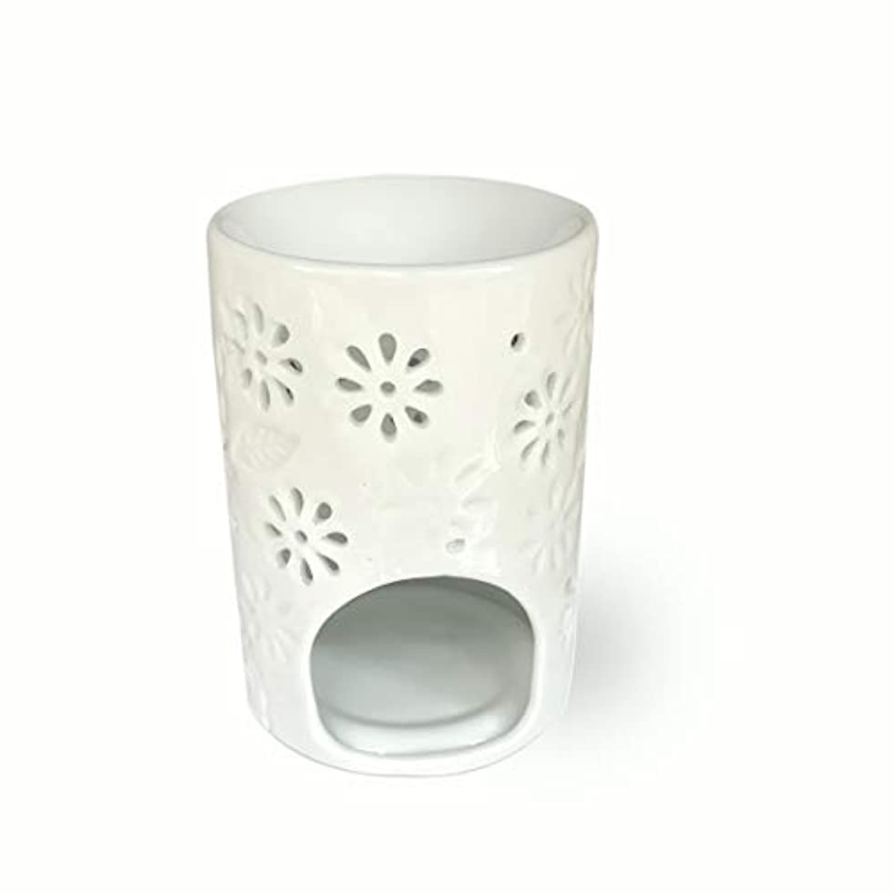 任意リムコミットメント(Vase Shaped) - ToiM Milk White Ceramic Hollowing Floral Aroma Lamp Candle Warmers Fragrance Warmer Oil Diffuser...