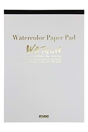 ミューズ 水彩紙 ホワイトワトソンパッド A4 190g ホワイト 15枚入り PD-6244 A4