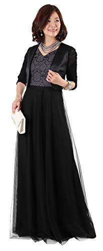 [アールズガウン]ロングドレス 結婚式 母親 ボレロ ジャケット セット 衣装 黒 ブラック 大きいサイズ 体型カバー フォーマル 40代 50代 60代 FD-180095 (3L, ブラック×ブラック)