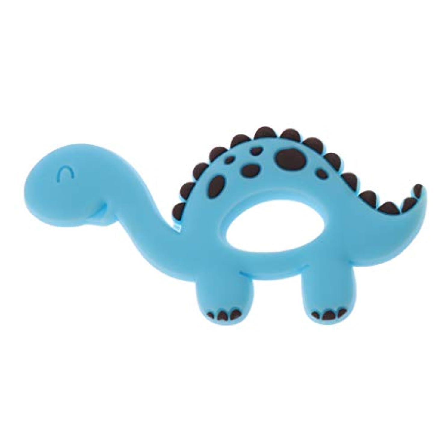 ブランク写真のレンドLanddumシリコーンおしゃぶり恐竜シリコーンおしゃぶり赤ちゃん看護玩具かむ玩具歯を作るガラガラおもちゃ - 青