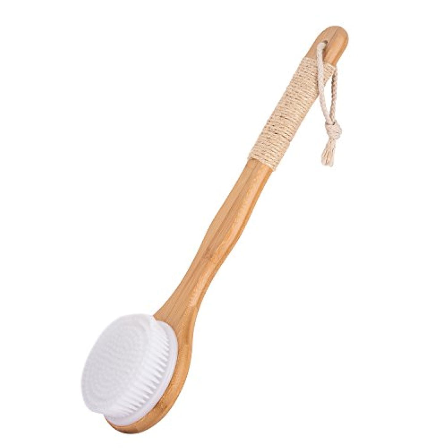 あからさま可塑性私Nenka ボディブラシ 体洗いブラシ 繊維毛 ロング お風呂用 竹製長柄 天然素材 やわらか ソフトタイプ 滑り止め紐 角質除去 (白い毛)