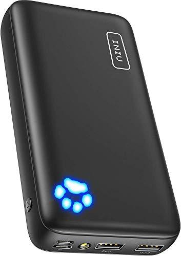 INIU モバイルバッテリー 20000mAh 大容量ポータブル充電器タイプC&マイクロUSB入力付き、デュアル3A高速出力のバッテリーパック iPhone 11/iPad/Xperia/Galaxy S10/Androidなどに対応