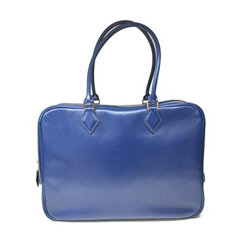 [エルメス] HERMES プリュム32 ハンドバッグ ブルー(金具:ゴールド) ボックスカーフ [中古]