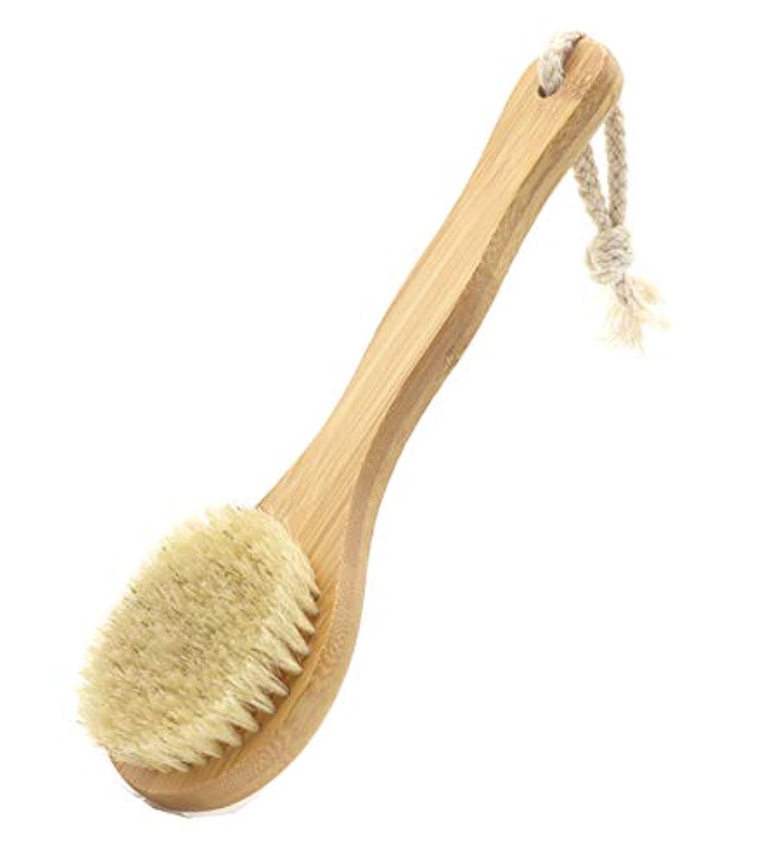 Maltose ボディブラシ 豚毛ブラシ ボディーぶらし 天然素材 長柄 背中洗いブラシ 硬め お風呂用 体洗い にきびの改善