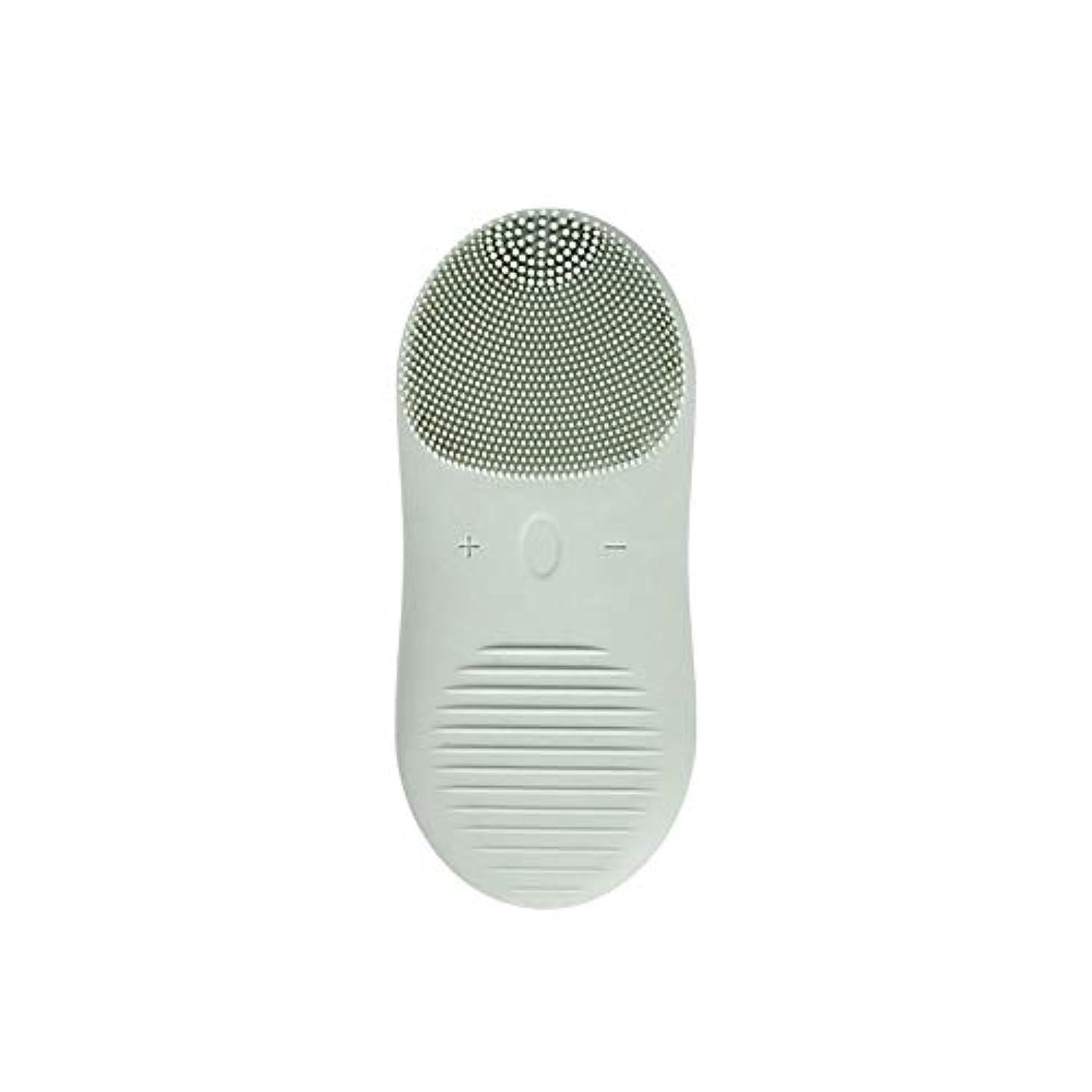 火山学者動機ベストZXF 新しい電気技師シリコーンクレンジングブラシ防水超音波振動クレンジング楽器USB充電マッサージ器具美容器具 滑らかである (色 : Green)