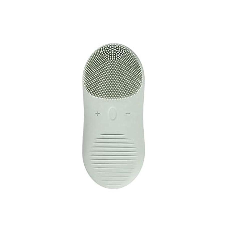 ZXF 新しい電気技師シリコーンクレンジングブラシ防水超音波振動クレンジング楽器USB充電マッサージ器具美容器具 滑らかである (色 : Green)