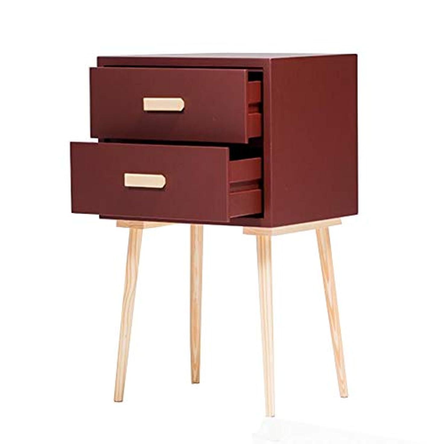 過半数尊厳遠いCJC テーブル、ナイトテーブルベッドサイドテーブル、引き出し、ベッドルームモダンデザイン、丈夫、多色多機能 (色 : Dark red)
