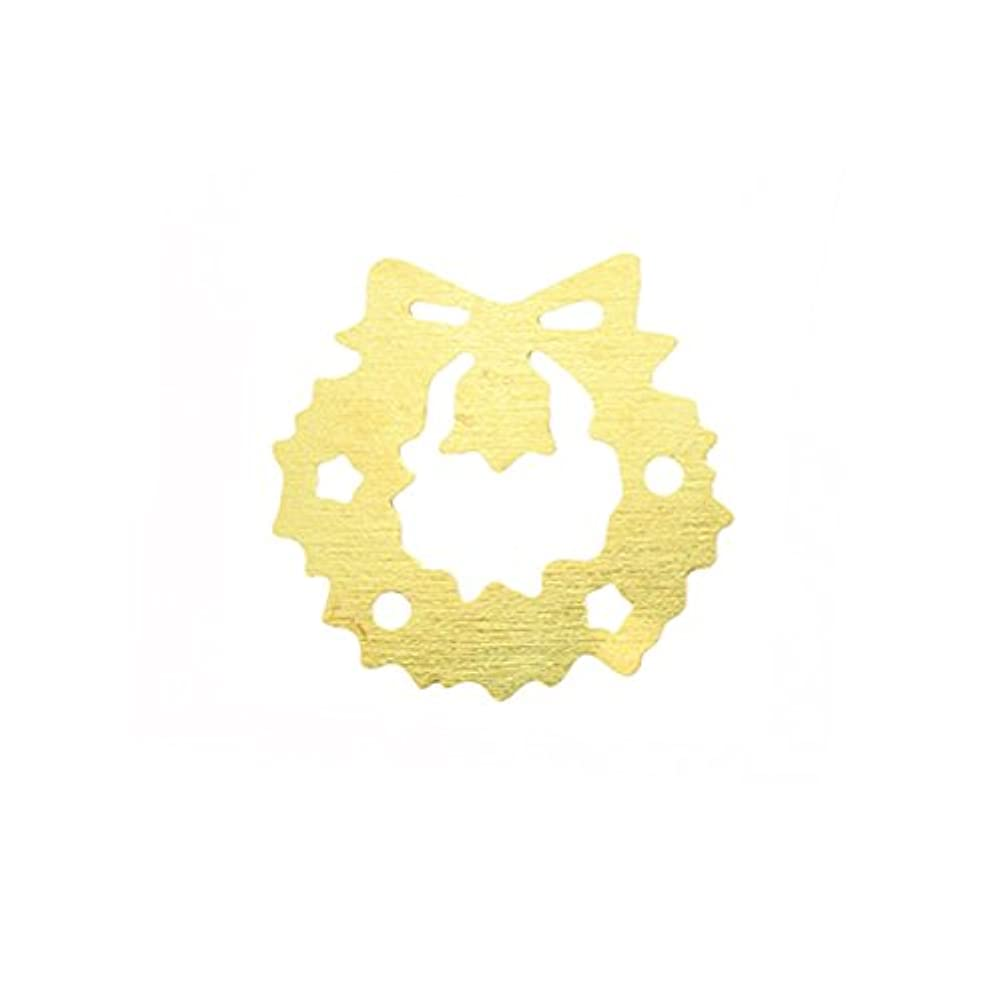 軍閉塞排除メタルプレート(ネイルストーン デコ) クリスマスリース ゴールド (30個入り)(ネイル用品)