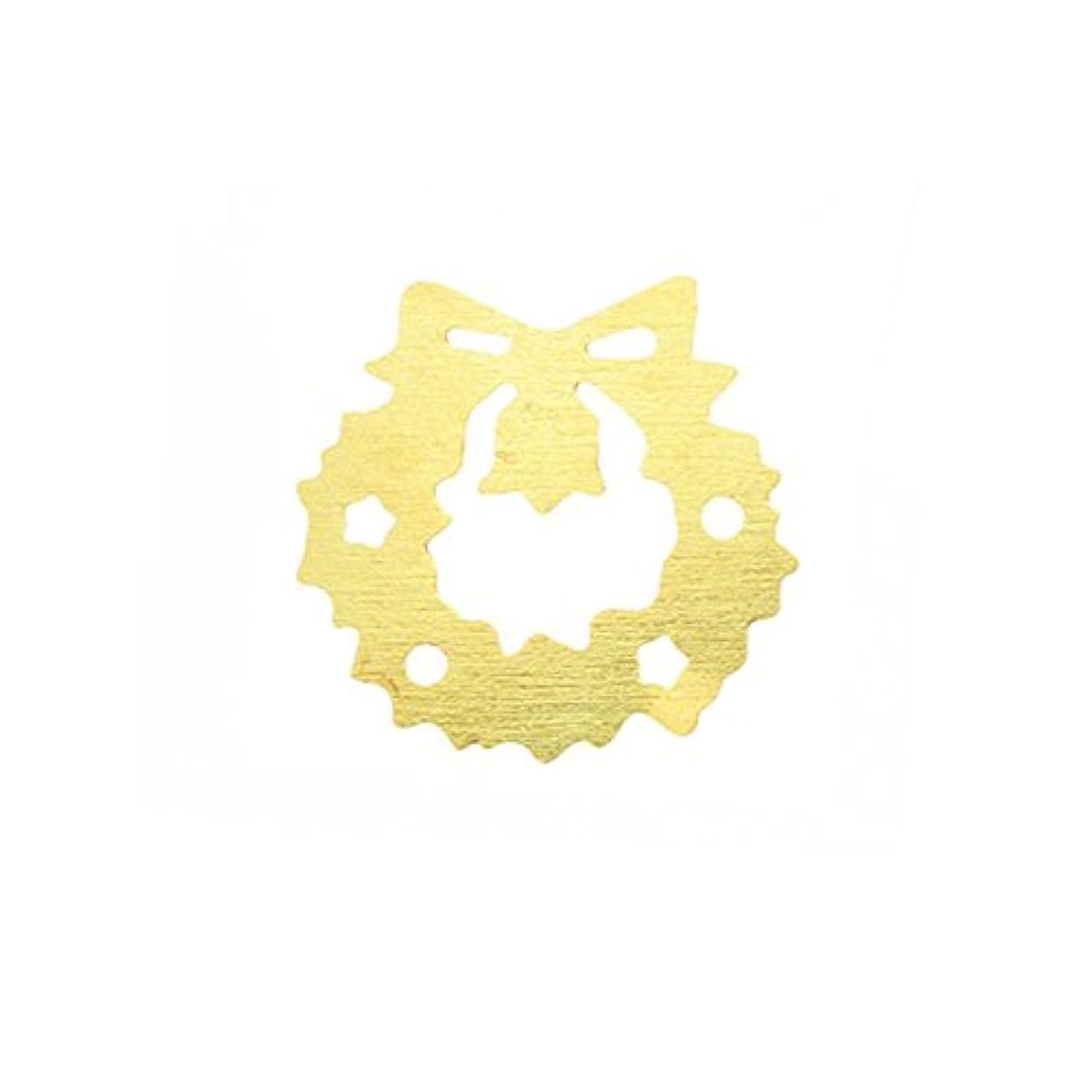 祈るズボン避難するメタルプレート(ネイルストーン デコ) クリスマスリース ゴールド (30個入り)(ネイル用品)