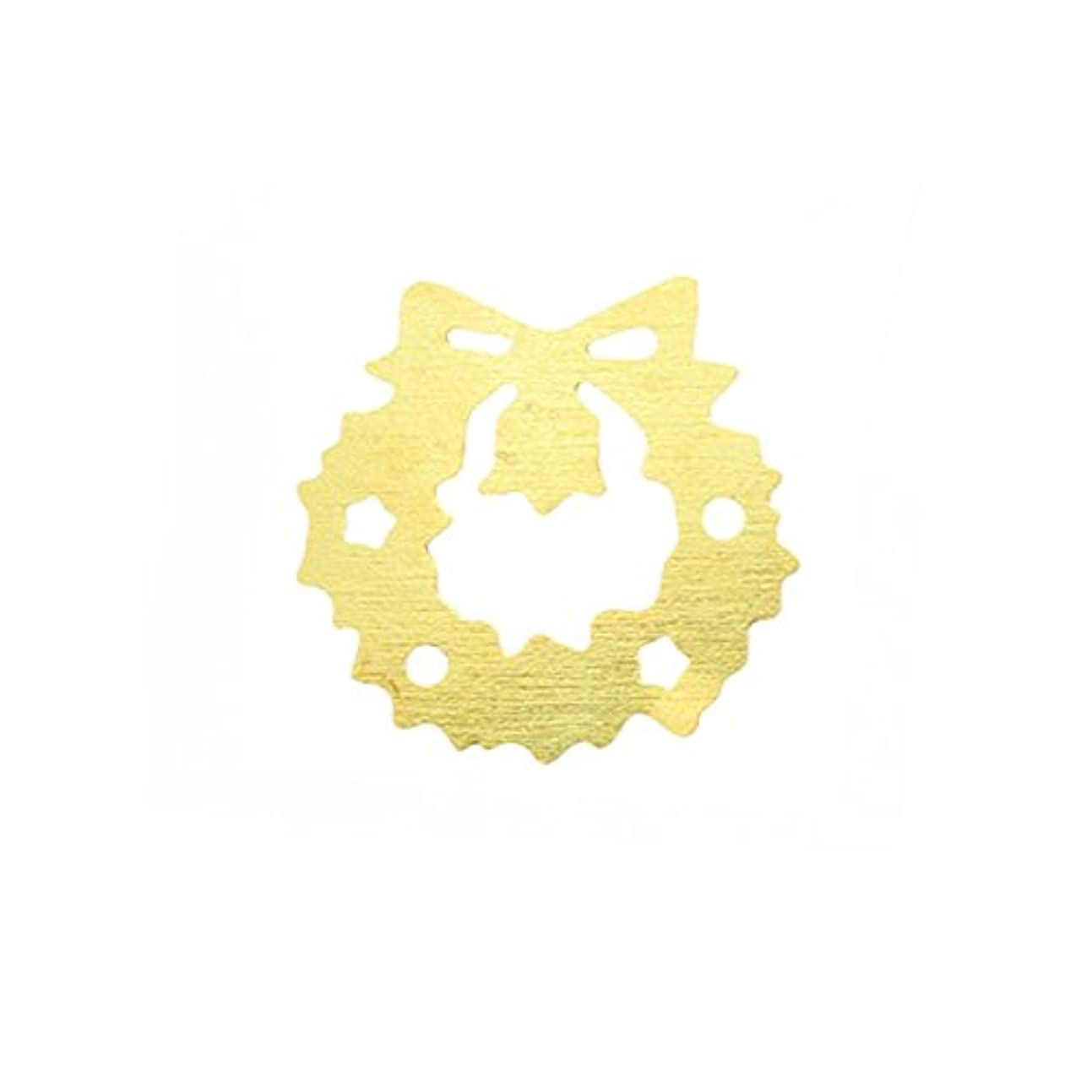 記念碑的な後絵メタルプレート(ネイルストーン デコ) クリスマスリース ゴールド (30個入り)(ネイル用品)