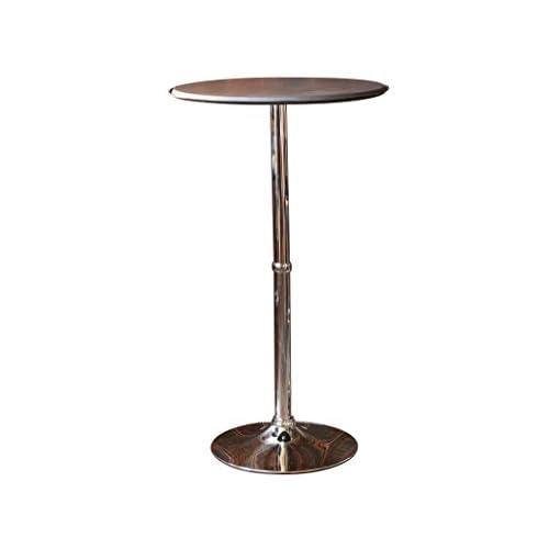 ラウンドハイテーブル レザー こげ茶 高さ110cm