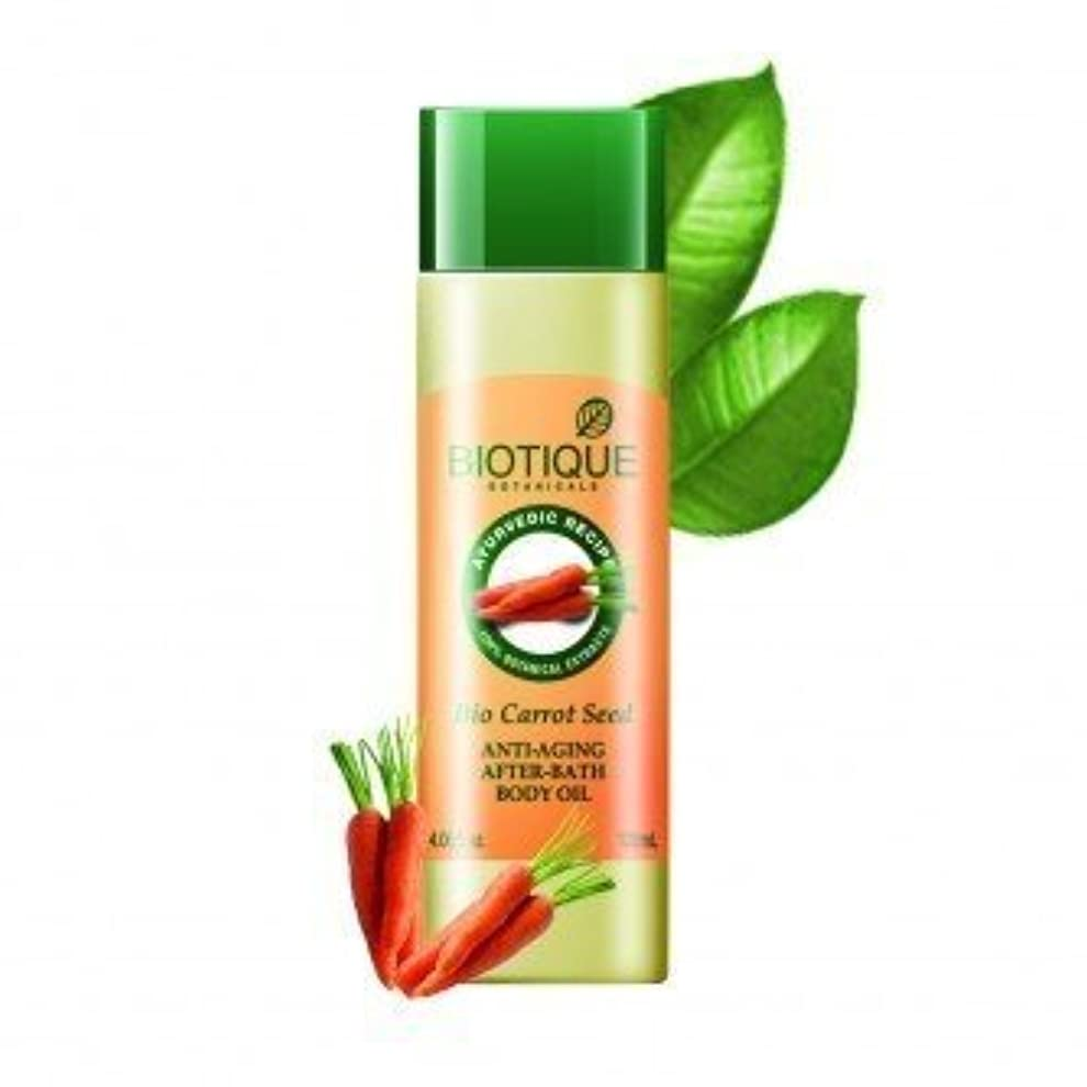 滑り台ボスしたいBiotique Bio Carrot Seed Anti-Aging After-Bath Body Oil 120 Ml (Ship From India)