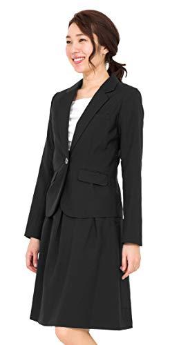 (アッドルージュ) AddRouge スーツ レディース 2点セット 洗える フレアスカート【j5033】9号 ブラック