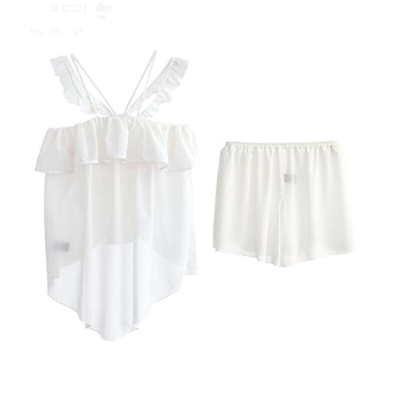 GAODUZI 夏の甘いかわいいセクシーなストラップの女の子ツーピースパジャマファッションカジュアルホームサービス睡眠スカートの下着(パジャマ+ショートパンツ)