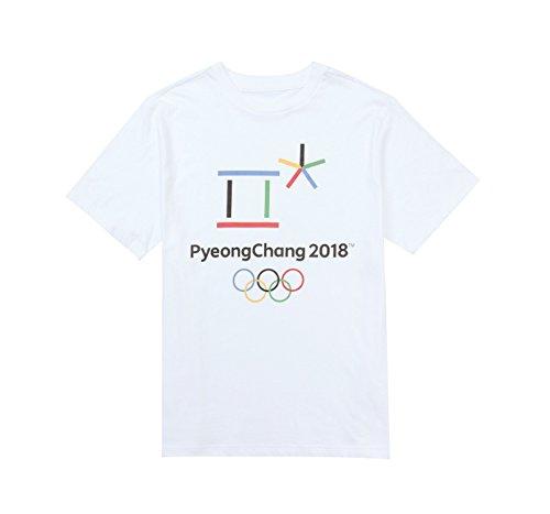 2018年平昌オリンピック フードエンブレム Tシャツ 正規品 エンブレム PyeongChang2018 Emblem T-shirt [海外直送品] (ホワイト, M)