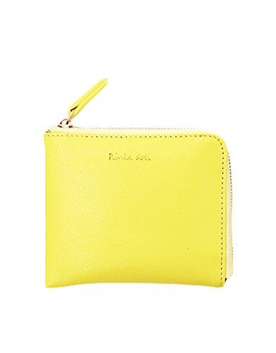 AIKOSHA NETWORK イエロー レディース バッグ ミニ財布 ファスナー 手のひらサイズ 超軽量 薄マチ パステルカラー