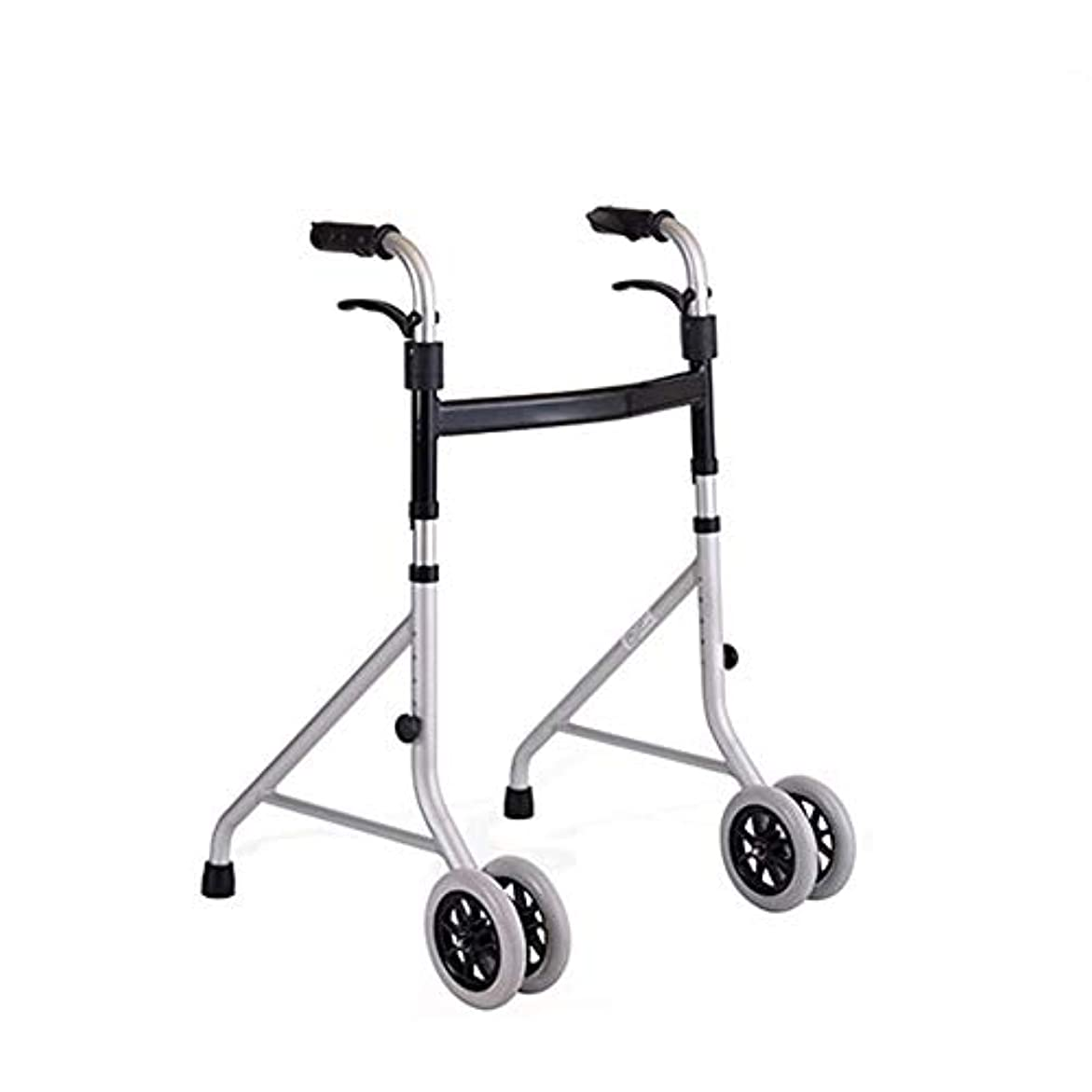 ふけるビデオ環境に優しい折りたたみ式軽量アルミニウム歩行フレーム/ジマー/ 4車輪付き歩行器-高さ調節可能 (Color : Gray)