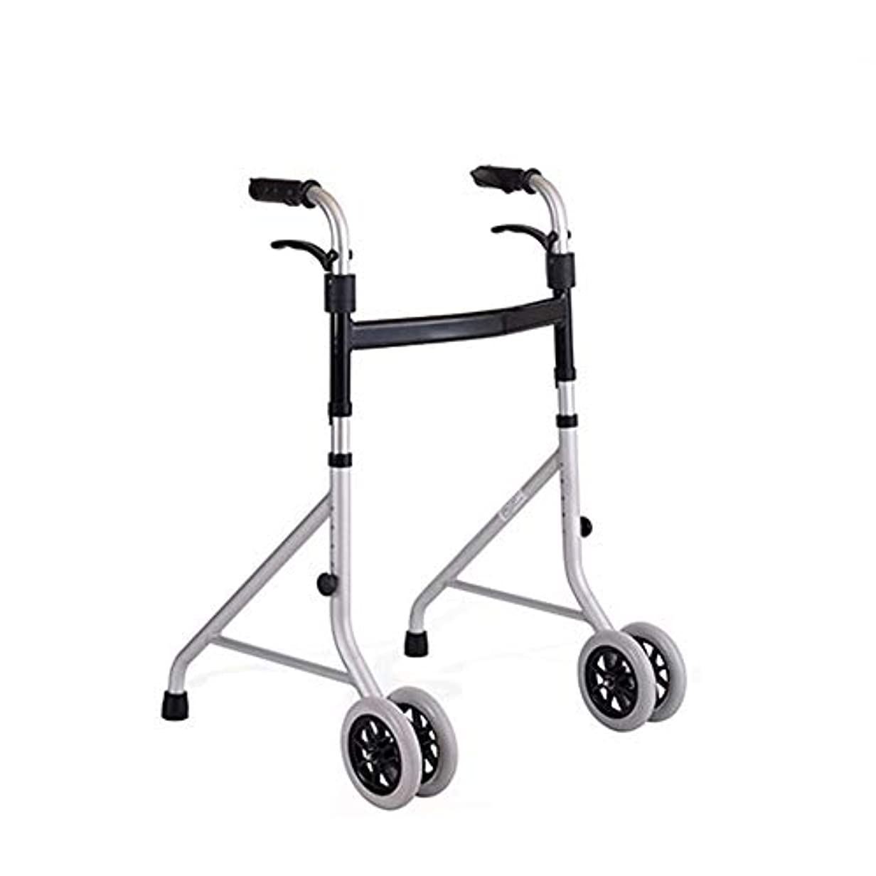 望むシャークプロフェッショナル折りたたみ式軽量アルミニウム歩行フレーム/ジマー/ 4車輪付き歩行器-高さ調節可能 (Color : Gray)
