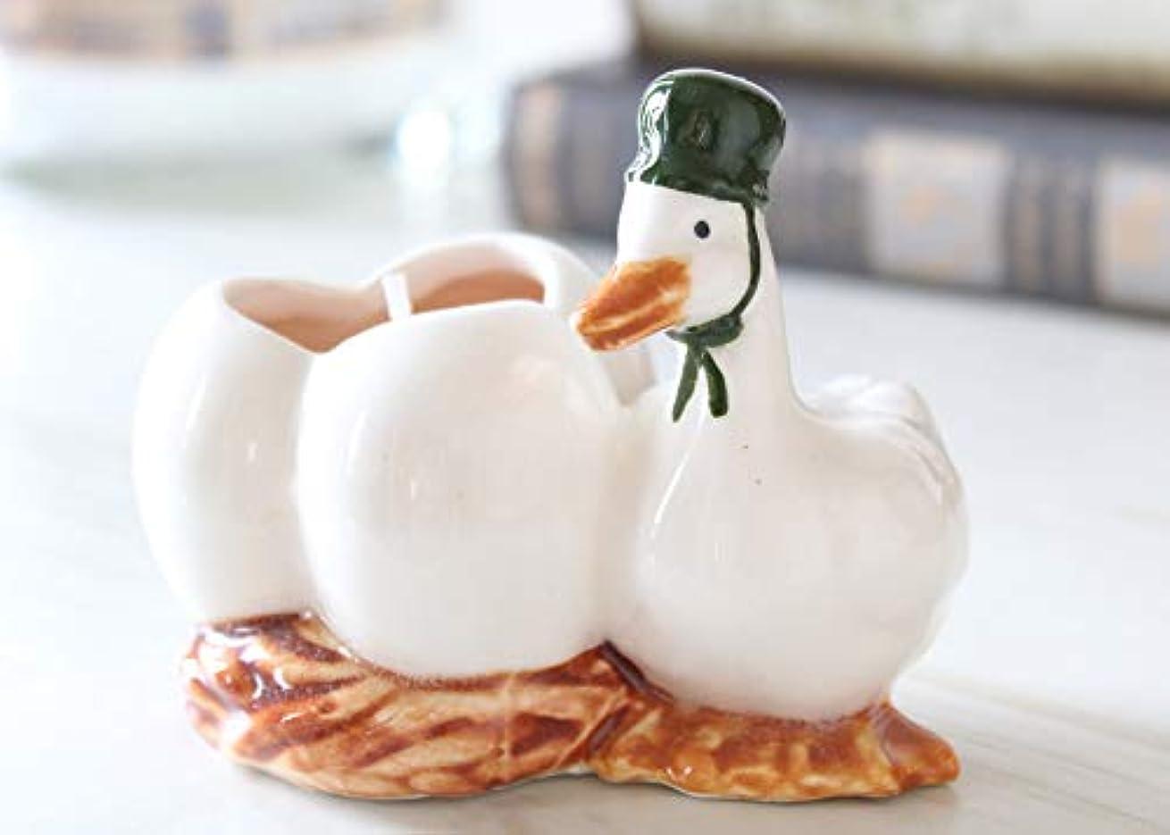 事業傾向があるおめでとうマニー プチメゾン 陶器 キャンドル アヒル(WH)
