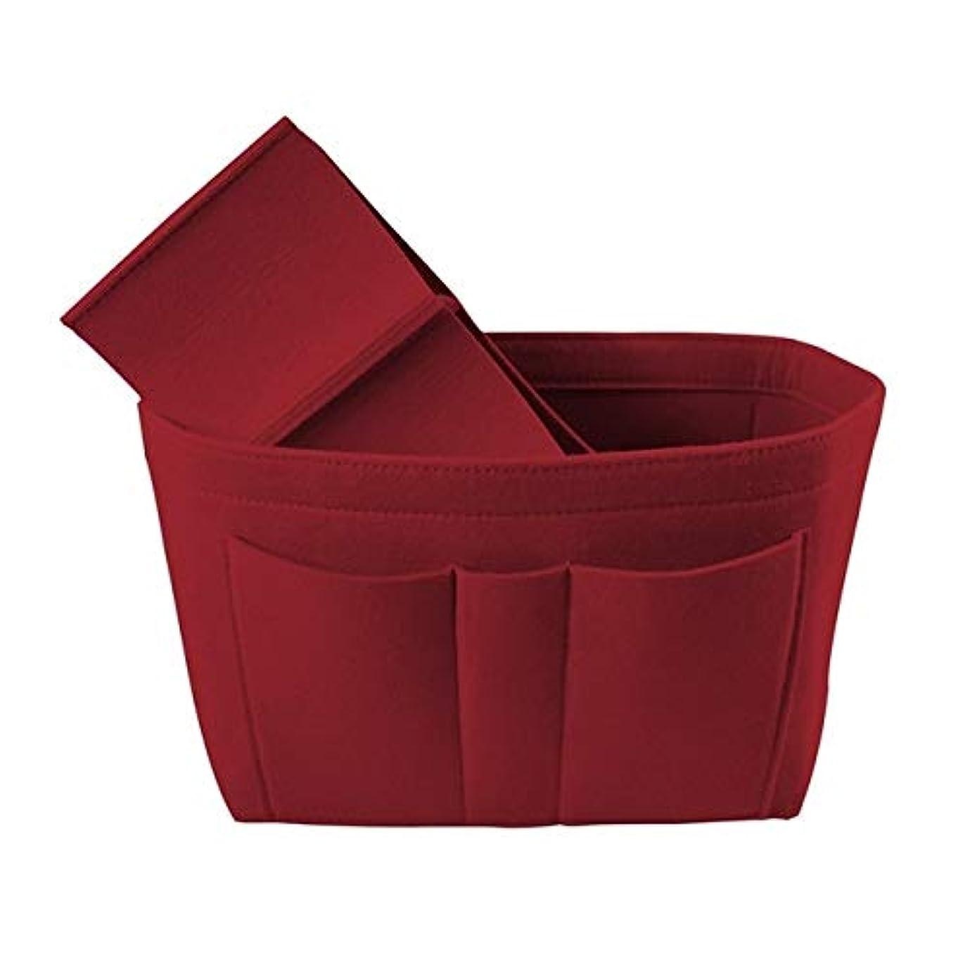 法律により用量火星MEI1JIA QUELLIAはフェルトパッケージクリエイティブ化粧品収納袋に袋をフェルト多機能デブリ仕上げバスケット(レッド) (色 : Red)