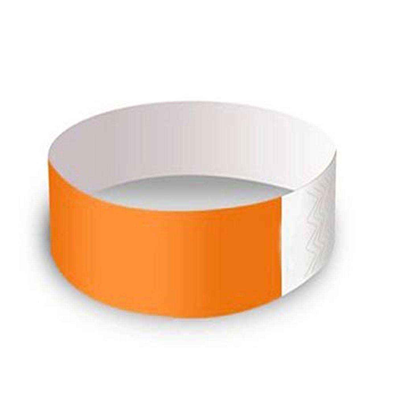枯れる以降考えMilent 使い捨てリストバンド イベント用 無地 防水性 耐引裂性 19mm幅 蛍光 100本セット オレンジ