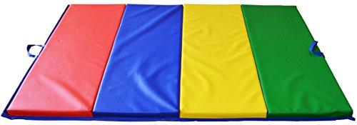 折畳み式運動用マット(大)「四つ折りができる!」縦122×横245×厚さ5(cm) 全身運動、ダンス、ヨガ、体操、柔軟体操、武道、休憩などに適切 中のスポンジは高品質なドイツ製