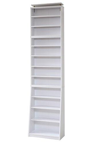 JKプラン 1cmピッチ 薄型 大容量 文庫本ラック 幅60 上置きセット 書棚 壁面収納 つっぱり 木製 本収納 漫画 CD DVD YHK-0214SET-WH