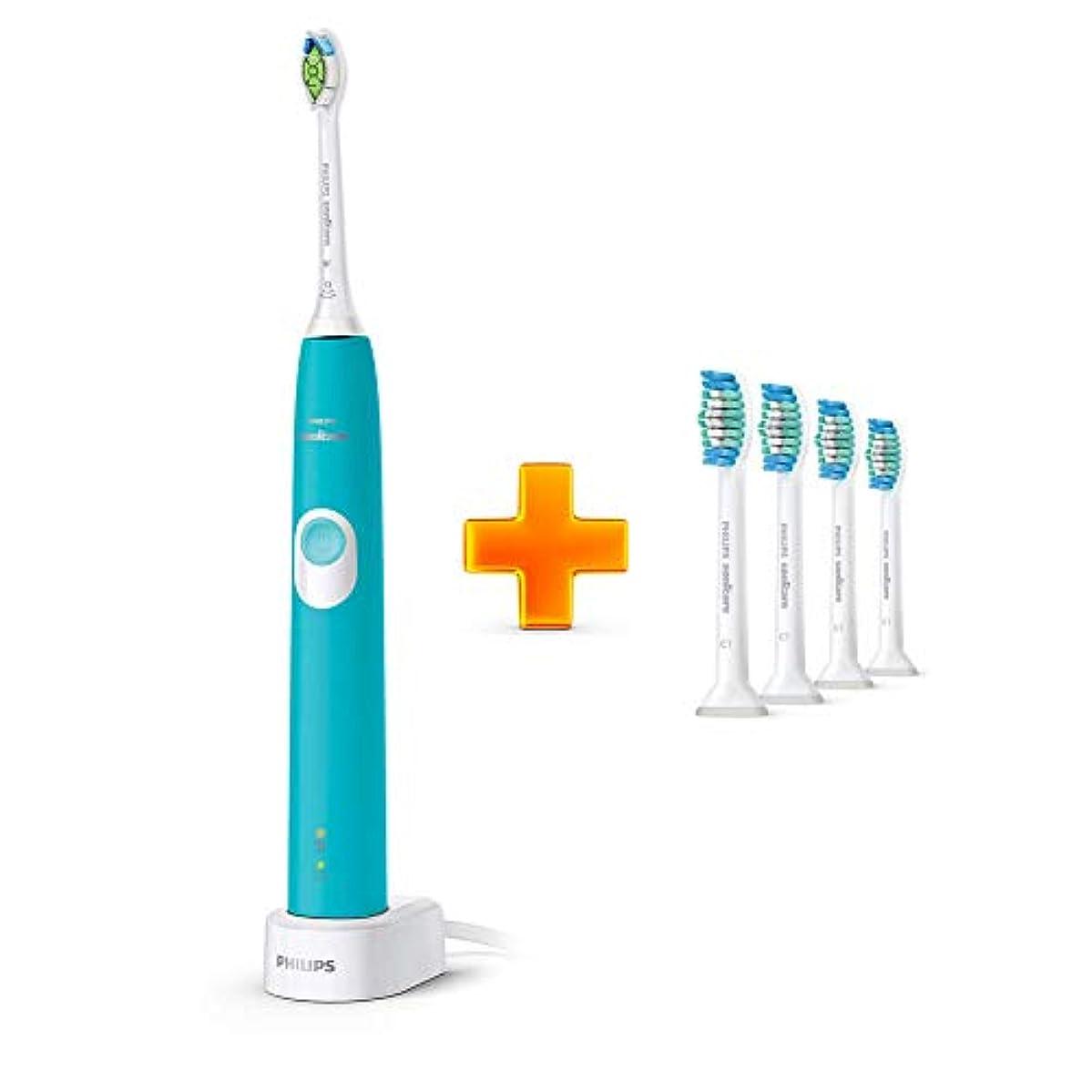 強調同意慢性的Philips Sonicare ProtectiveClean 4300 HX6802プラークコントロール、充電式電動歯ブラシTurkey Blue + PRORESULT歯ブラシHX6014 4 PCS [並行輸入品]