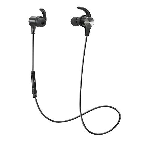ブルートゥース イヤホン TaoTronics Bluetooth イヤホン ワイヤレス ヘッドホン マグネティックヘッドセット IPX5防水 スポーツ仕様 TT-BH07 黒