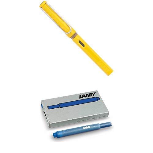 LAMY ラミー 万年筆 ペン先EF(極細字) サファリ イエロー L18-EF 両用式 コンバーター別売 正規輸入品+LAMY ラミー カートリッジインク ブルー LT10BL 正規輸入品