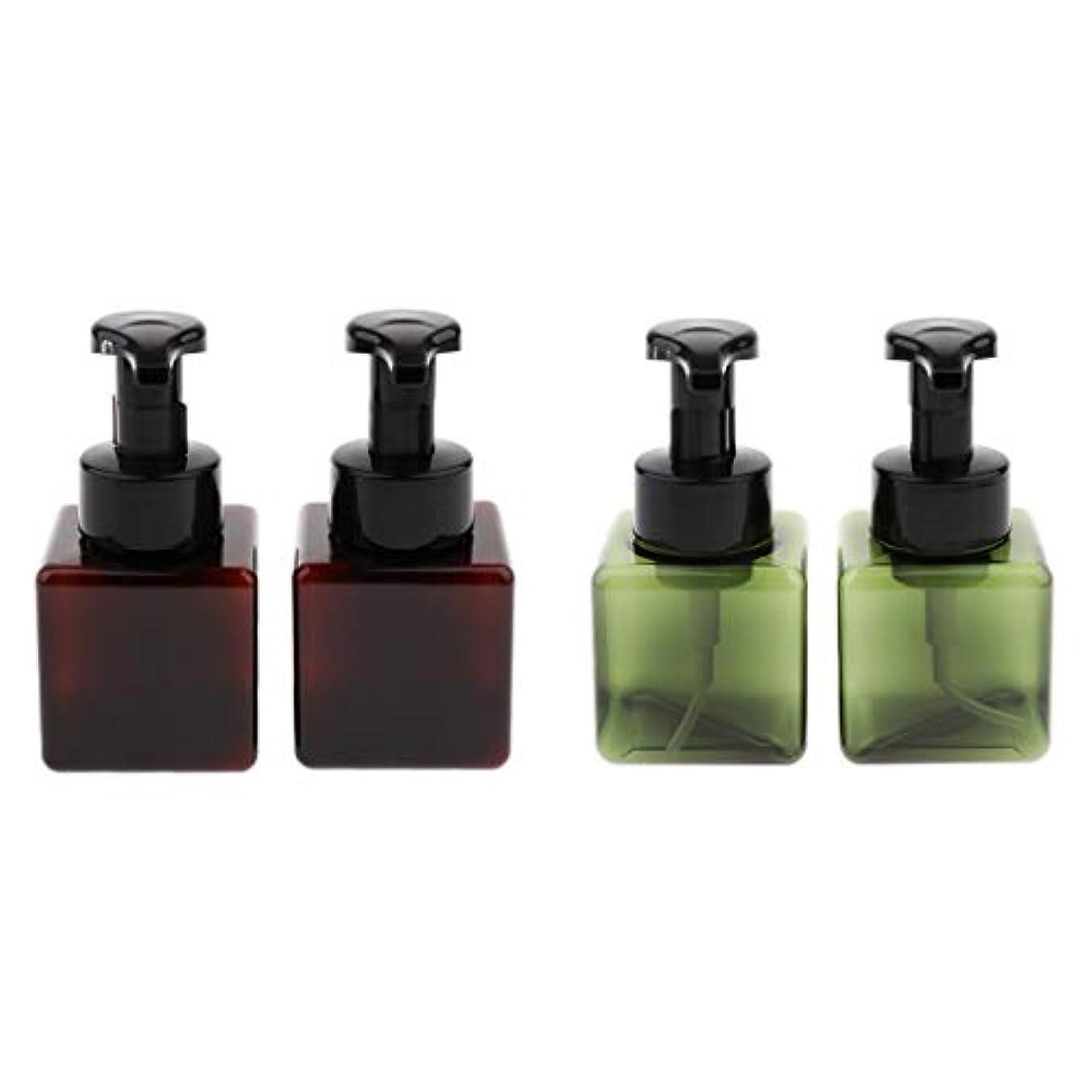 コンプリートピザ拍手するB Blesiya 全5色 4個 250ml 泡ポンプボトル 空ボトル 詰替ボトル 小分けボトル ディスペンサー 多用途 - ダークグリーン+ブラウン