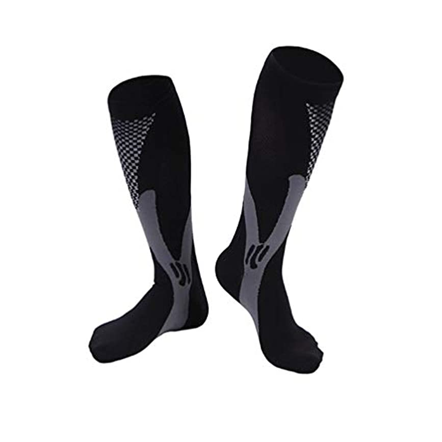 不適当エゴマニアセッティング快適な男性女性ファッションレッグサポートストレッチ圧縮ソックス下膝ソックスレッグサポートストレッチ通気性ソックス - ブラック2 XL