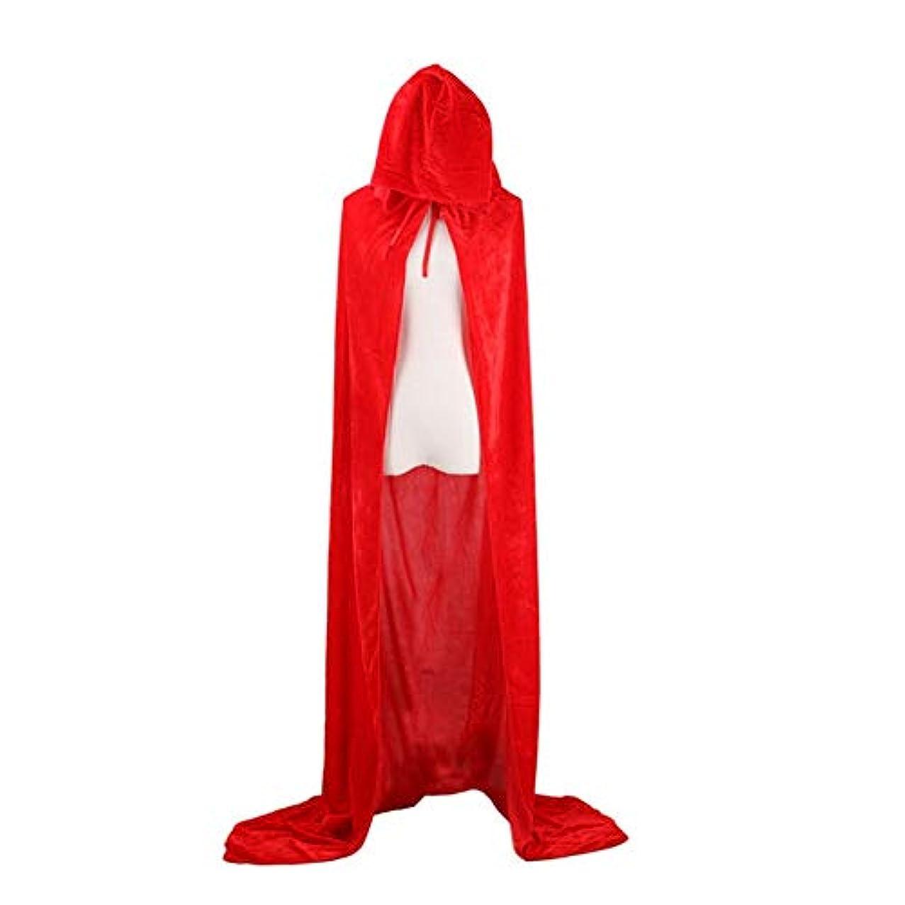 感覚和アクセスハロウィンデスマントコスウィザードウィッチプリンスプリンセスマントゴールドベルベットマントマントフード付きポリエステルマント-赤80cm