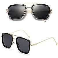 Sincher Avengers 4 Same Paragraph Square Sunglasses for Men Women Gold Frame Retro Classic Tony Stark Sunglasses