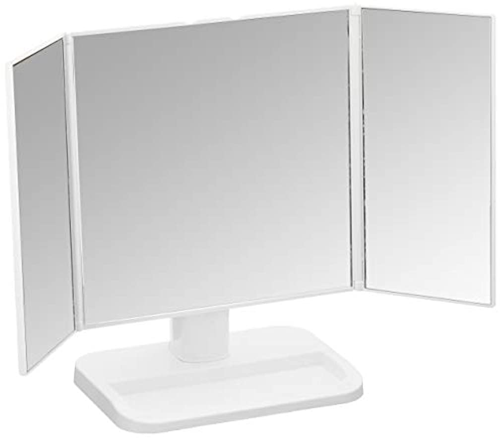 実行状態クック永井興産 メイクアップミラー 三面鏡 ホワイト NK-242(WH)