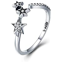Clear CZ Cute Star Sterling Silver S925 Open Stacking Rings for Women Girls Adjustable Dainty Rhinestone Crystal Finger Band Promise Eternity Engagement Wedding Ring Fashion Jewelry Gifts Girlfriend