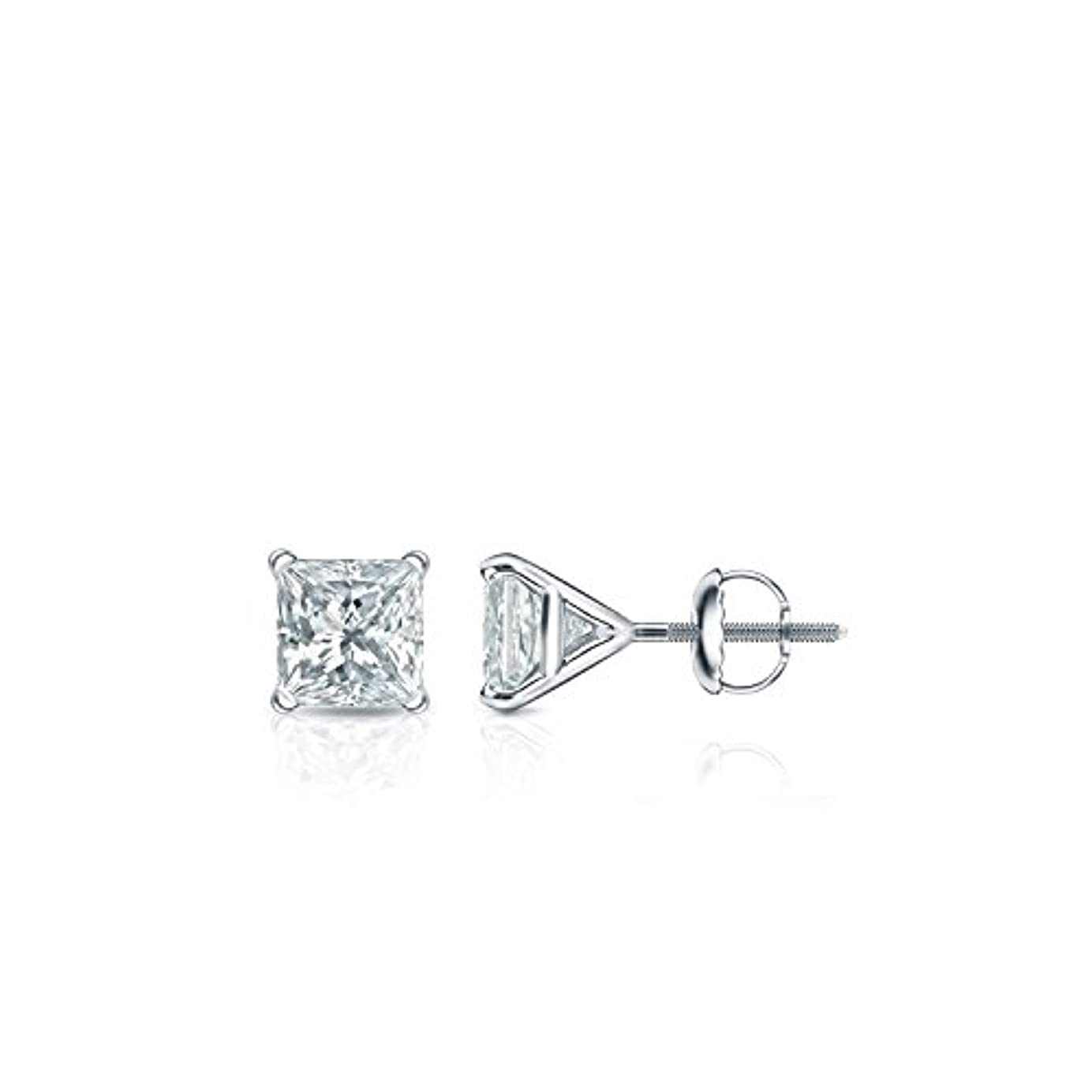 描写愛撫ロードハウス14 Kホワイトゴールド4プロングMartiniプリンセスメンズダイヤモンドスタッドイヤリング( 1 / 4 – 2 ct、Oホワイト、i1 - i2 ) screw-back
