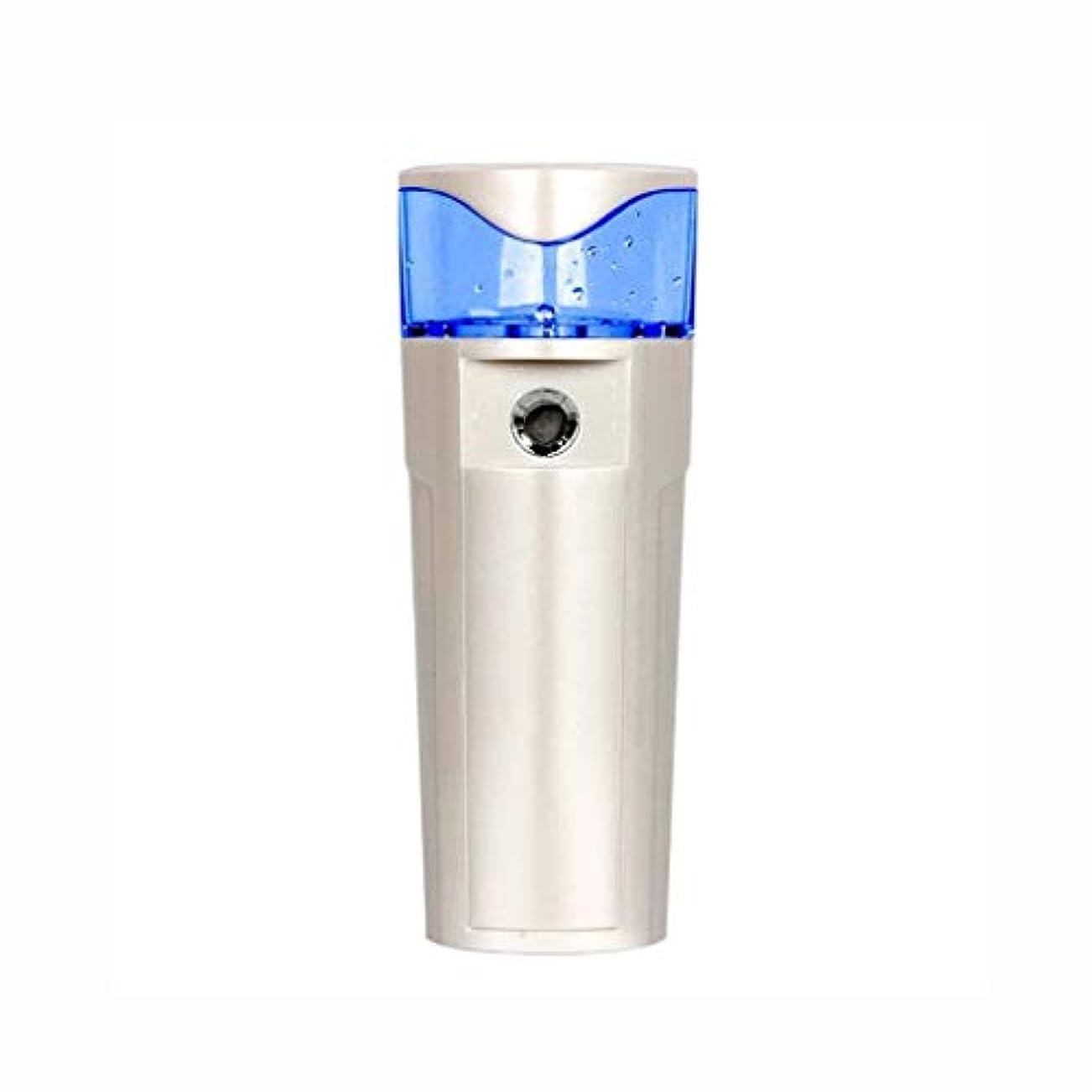 スプレーポータブルクールスプレーフェイシャルスプレーモイスチャライジングモイスチャライジングおよびモイスチャライジングスチーマーモバイル電源usb充電美容スキンケア楽器 (色 : シルバーホワイト)