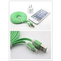(I-Accessary)(商品 )(全4色)(カラー豊富)iphone5 ipad4&ipad mini対応ライトニングUSBケーブル USB充電&データ通信 ラーメンみたい形 長いケーブル 3メートル 充電&データ転送機能 耐久性 持ち運び便利 lighting cable for iphone5 ipad4&ipad mini (グリーン) green