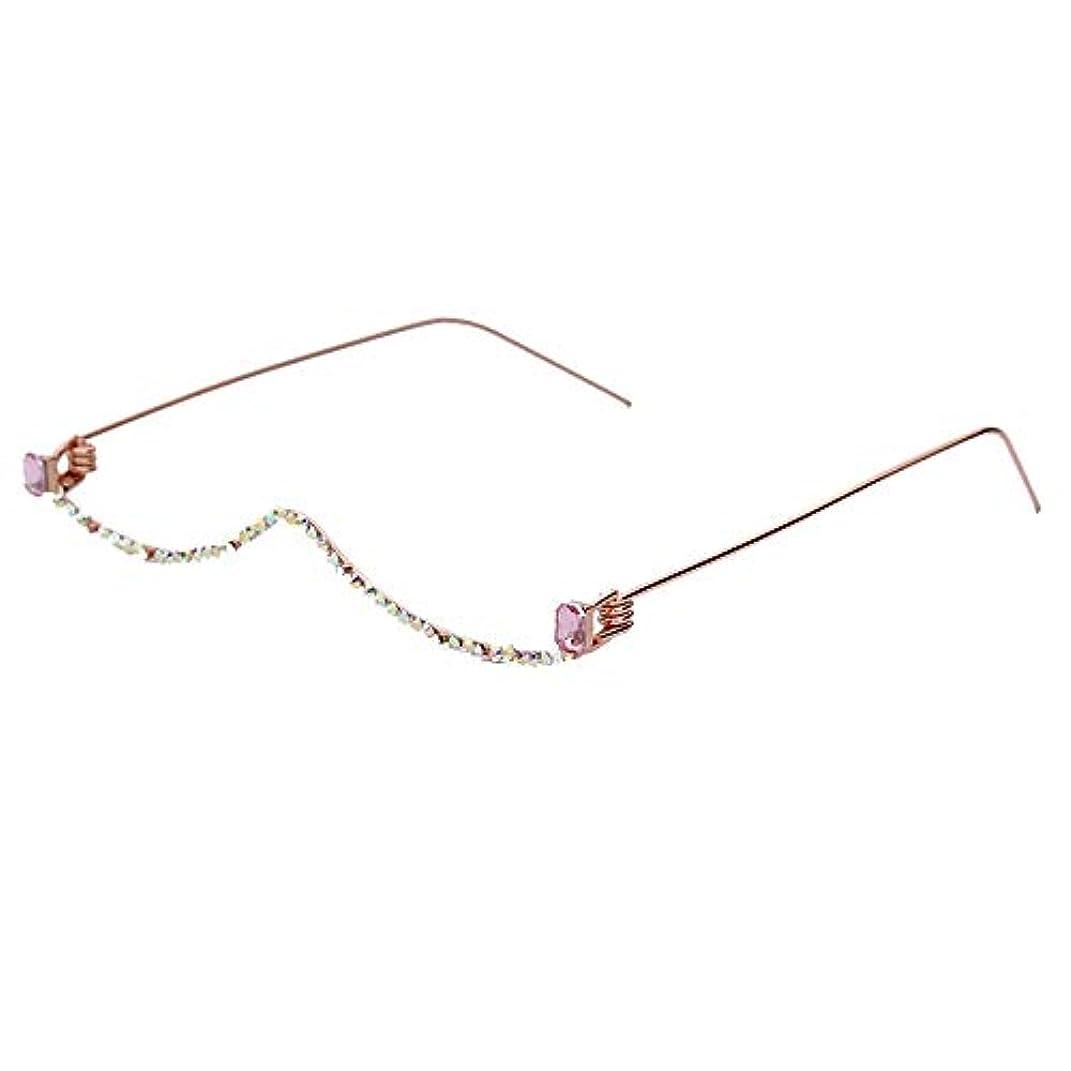 ページェント写真のセンブランスMonland メガネフレーム、レディースラインストーンメガネフレーム、サングラス装飾、ハーフフレームメガネ、カラフルチェーンフレーム、装飾メガネ、ピンク