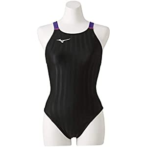 ミズノ(MIZUNO) 競泳水着 レディース ストリームアクセラ ミディアムカット FINA承認 N2MA822698 サイズ:S ブラック×バイオレット N2MA8226 98:ブラック×バイオレット S