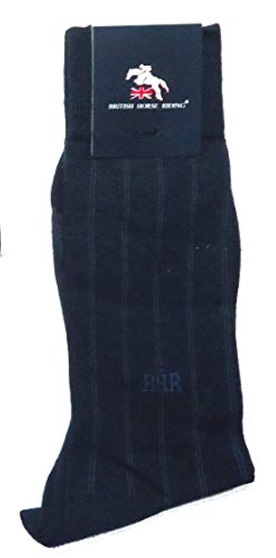 BRITISH HORSE RIDING メンズ ストライプ 柄 ハイ クルー 丈 ソックス (紳士 靴下) 25-26cm