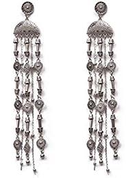 Silver Tone Aztec Metal Statement Drop Earrings
