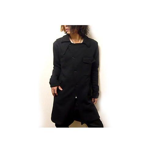 Clack メンズ コート / ロング丈 Pコート スウェット素材 裏起毛 アウター サロン系 ブラック Free [ 綿100% ] 【正規品】