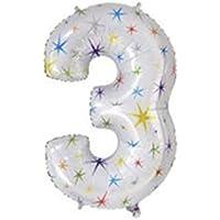 yuzuyu_shop 数字3 超BIGサイズ 40インチ アルミ バルーン 誕生日 記念 カウントダウン アルミ風船 ナンバー イベント パーティ 結婚 星 スター