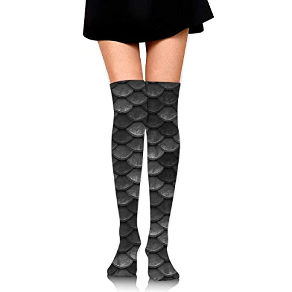 幻想的解明する識別するMKLOS 通気性 圧縮ソックス Breathable Extra Long Cotton Mid Thigh High Beautiful Charcoal Gray Mermaid Fish Scales Exotic...